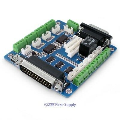 Upgraded 5 Axis Cnc Breakout Board For Microstep Controller + Cables + Software