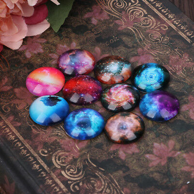 10Pcs 12/20mm Mixed Photo Image Galaxy Round Glass Cabochon Dome Flat Back Cover