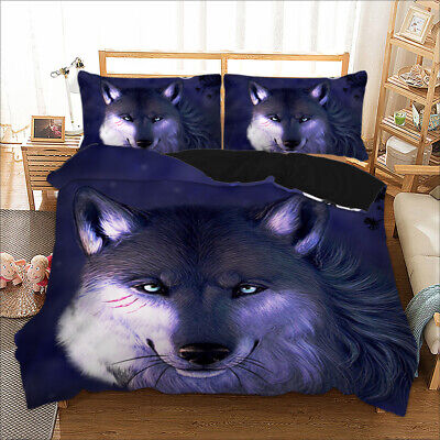 Wolf Animal Quilt Duvet Doona Cover Set Single Double Queen King Size Bed Linen