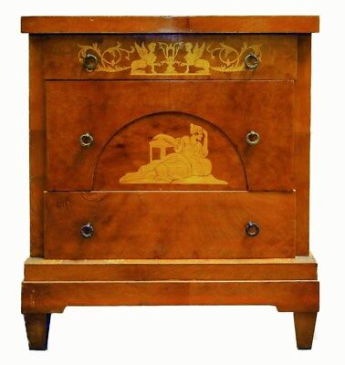 Diminutive Northern Italy Biedermeier  Walnut Commode inlaid neoclassical inlay
