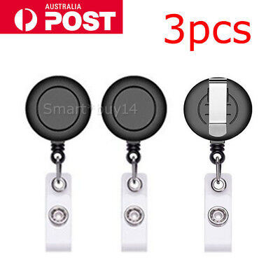 3 Retractable Badge Holder Reel Card Business Security ID Pull Key Tag Clip NEW