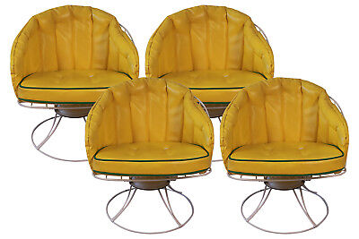 Four Vintage Mid Century Modern 1960s Homecrest Swivel Barrel Lounge Chairs Eame