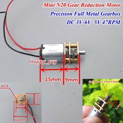 N20 Precision Full Metal Gear Gearbox Reduction Motor DC 3-6V 5V 47RPM Low Speed