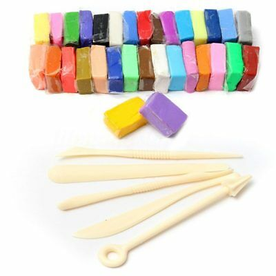 10X(5 Tools+24 Colors Soft clay Fimo Block Modelling Moulding DIY Toys, 24 E2F2