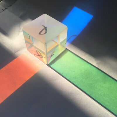 Optical Glass Triple Prism Physics Spectroscope Light Spectrum X-Cube 30*30*30mm