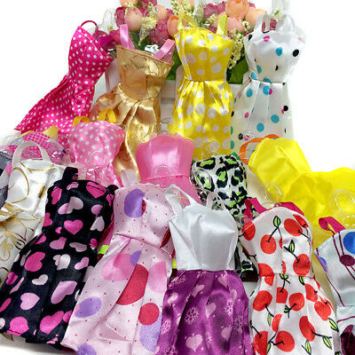 10 pcs Fashion Handmade Dresses Clothes Gift Set For Barbie Doll Random Style