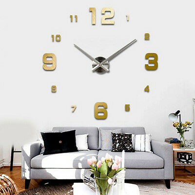 UK 3D Wall Clock Modern Mirror Surface Wall Watch Hang Clock DIY Home Decor