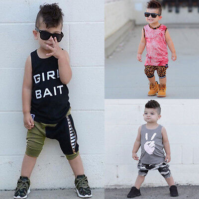 2PCS Toddler Kid Baby Boys Tops T Shirt Sleeveless Vest Shorts Pants Outfits Set