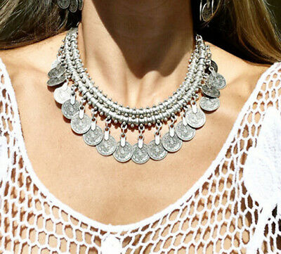 Antique Bohemian Turkish Antalya Gypsy Coin Necklace Ethnic Carved Silver Choker