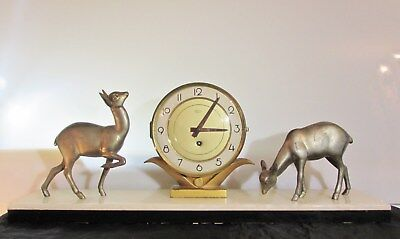 Beautiful Art Deco Black and White Marble Mantel Clock with Deers Silvoz Paris