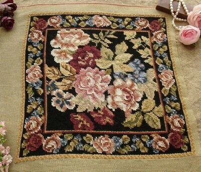Vtg Completed Needlepoint Canvas AntiQue Tapestry~GORGEOUS Rose Garden Black
