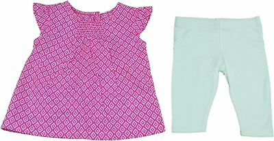 Carter's Baby Girls Leggings & Blouse Top 2-Peice Set, Pink/White