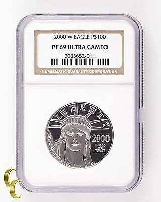 2000-W Platinum Eagle P$100 1 Oz. Proof Graded PF-69 Ultra Cameo by NGC