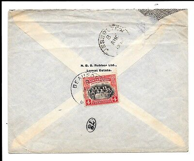 NORTH BORNEO 1917 4c COVER TO UK BEAUFORT CDS.