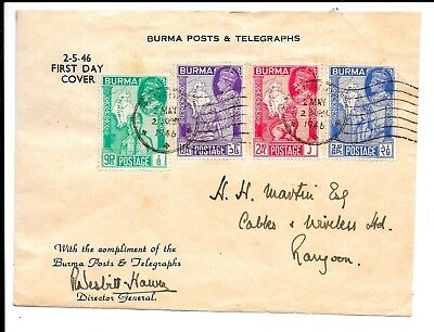 Burma 1946 Fdc Signed By Director General