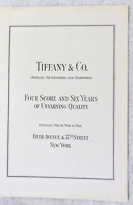 "Original Tiffany & Co. New York 1923 Print Ad - ""Four Score & Six Years Quality"""