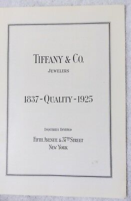"Original Tiffany & Co. Jewelers New York 1925 Print Ad - ""1837 Quality 1925"""