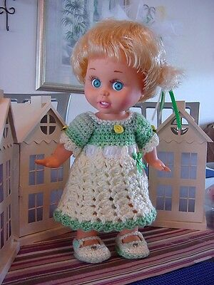 "Crochet Green & White Dress Set for 13"" Galoob Baby Face Dolls - By DollDarlings"