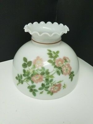 Antique Opal White Glass Shade with Pink and Green Floral Motif
