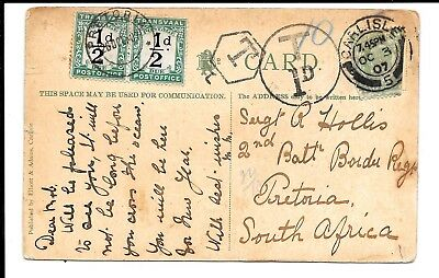 TRANSVAAL POSTAGE DUE 1907 1d COVER FROM CARLISLE