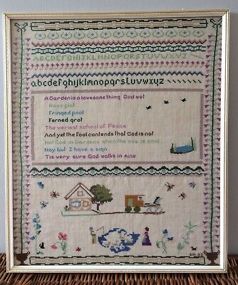 Lovely, Vintage, Framed Embroidery Sampler 'A Garden Is A Lovesome Thing'.
