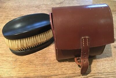 Vintage Leather Case  And Real Ebony Shoe / Clothes  Brush Quality