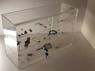 "Jewelry Acrylic Display Showcase 21 1/4""x7 1/2""x13 1/4""H Sliding Door 3 Shelves"