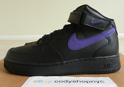 new concept adcd7 32f74 DS Nike Air Force 1 Mid 07 Black Leather sz 11 Court Purple mens af1