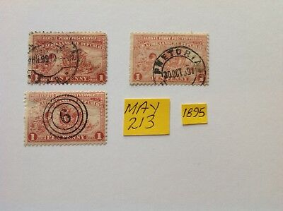 south africa/ transvaal 1895, good cancels x 2, stamps x 3 used