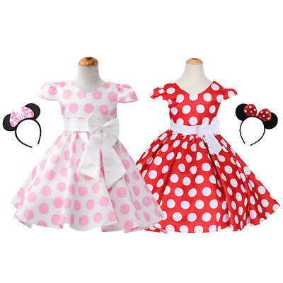 BNWT Girls Baby Kids Minnie Mouse Print Polka Dot Party Dress Summer Gift