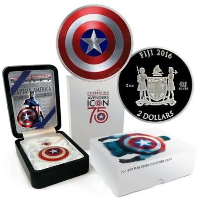 2016 Fiji 2 oz. Proof Silver Domed Marvel Captain America Shield In OGP with Pin