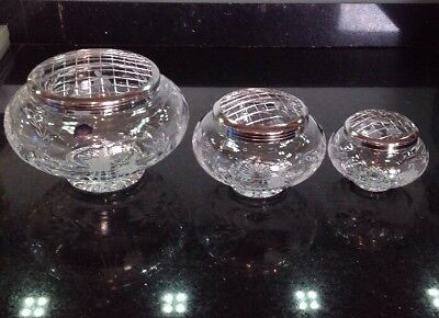 Stuart Crystal Set Of 3 Graduated Rose Bowls Perfect Condition Fuchsia Cascad