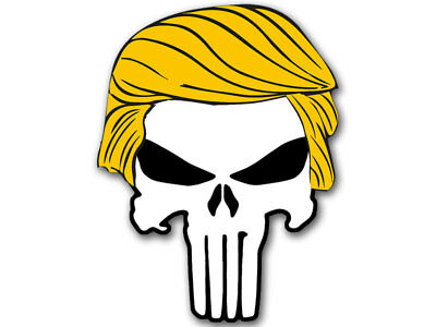 3x4 inch PUNISHER with TRUMP HAIR Sticker  - pro donald military funny bumper us