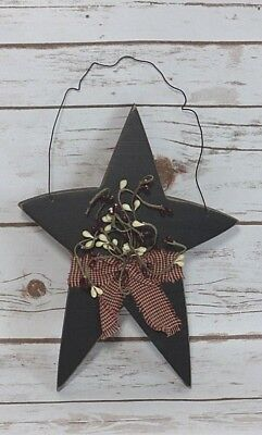 """Primitive Rustic Wooden Star Hanging  with Pip Berries  11""""  x 7"""""""