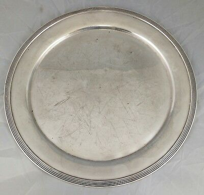 Large AMERICAN Antique Repousse STERLING SILVER Round PLATTER Tray INTERNATIONAL
