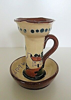 Vintage Torquay Ware Pottery Candle Holder  - Mottoes - Devon Collectable