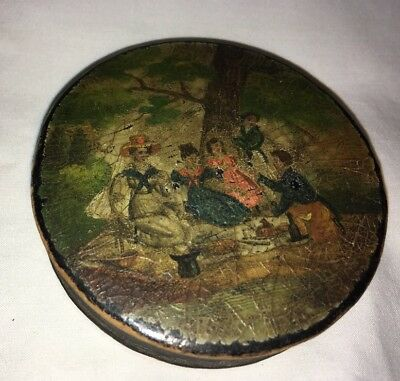 Large Antique C.1800s French Hand Painted Papier Mache Snuff Box PICNIC SCENE