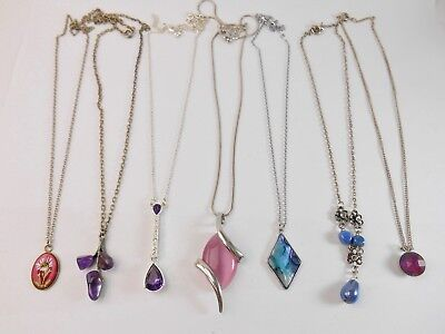 Job Lot Of Vintage Jewellery Necklaces Amethyst Floral Pink Blue Abalone Etc