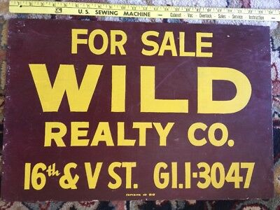 Vintage For Sale WILD Realty Realtor Old Wood Northern California Sign Home