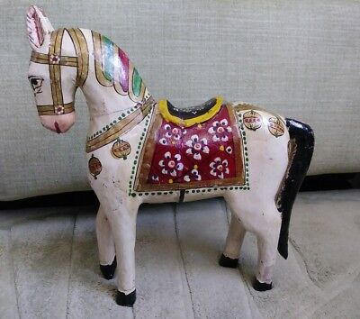 """Vintage Hand Carved Hand Painted Wood Horse 10,5"""""""
