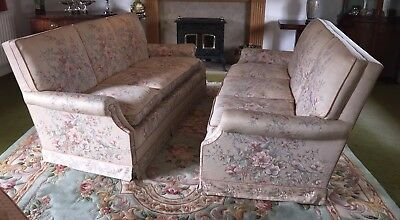A pair of (2) Large 3 seater Antique Sofas covered in birds and flowers