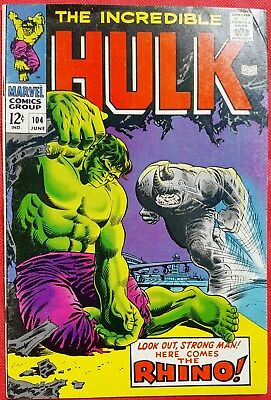 INCREDIBLE HULK 104 MARVEL SILVER AGE 1968 Rhino appearance