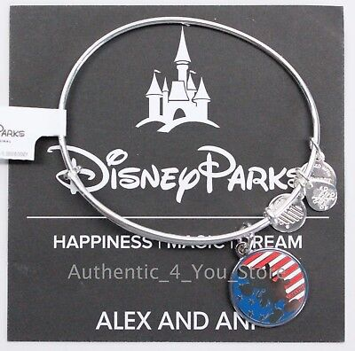 NEW Disney Parks ALEX AND ANI Mickey Mouse American Flag SILVER Bangle Bracelet