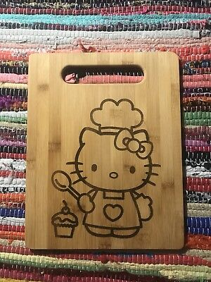 Hello Kitty Cup Cake Bake Cook Chef Cute Girls Woman Cutting Board Party Prep Me