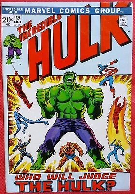 INCREDIBLE HULK 152 MARVEL 1972 Captain America Spider-Man appearance