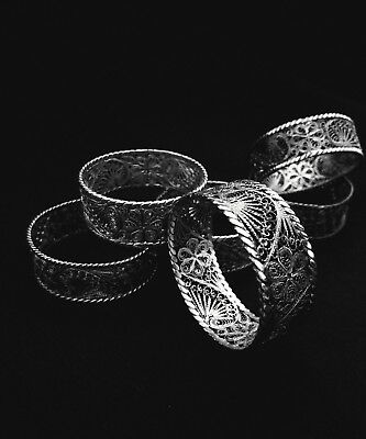 Antique Sterling Silver Filigree Napkin Rings - 6 avail