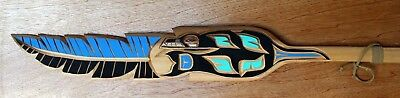 Christian Turo Original Hand Signed Carved Painted Cedar Native Orca Feather