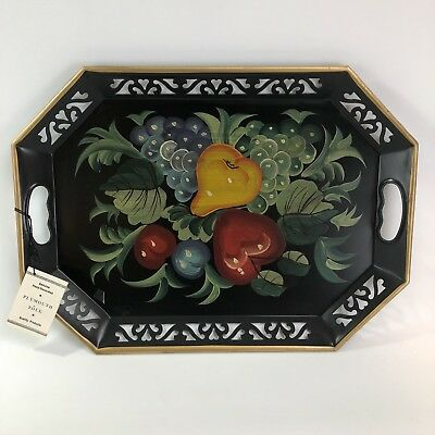 "Vtg Hand Painted Fruit  Plymouth Tole Tray Original Tag 18.5"" Excellent"