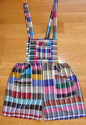 Hippy Guatemalan overalls, wool/acrylic woven colorful plaid size large women's