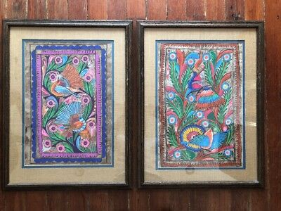 Pair of Vintage Framed Amate Bark Painting Folk Art Mexican Birds Flowers 21x27""